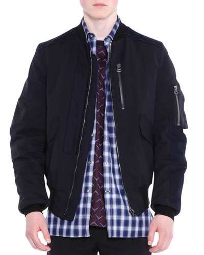 Zip-Up Blouson Jacket, Black