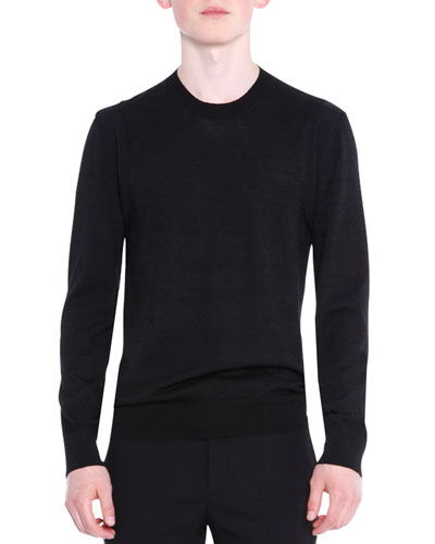 Crewneck Wool/Silk Knit Sweater, Black