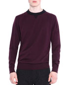 Crewneck Knit Sweater, Wine
