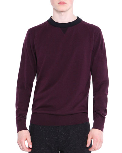 Crewneck Knit Sweater, Wine