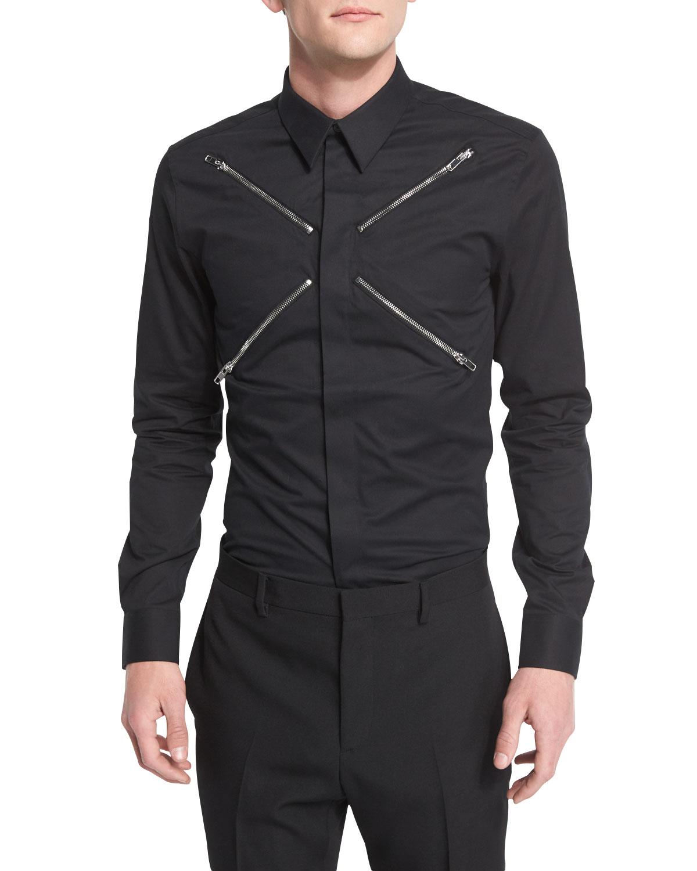 Zip-Collar Long-Sleeve Shirt, Black