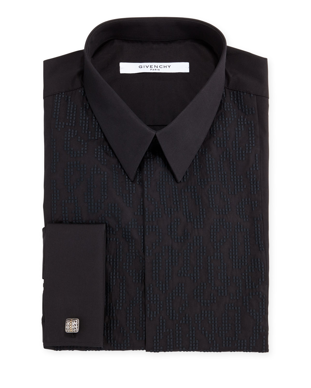 Leo Embroidered-Bib Tuxedo Shirt, Black