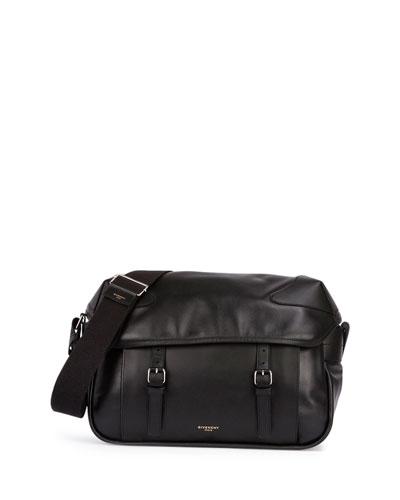 Rider Leather Messenger Bag, Black