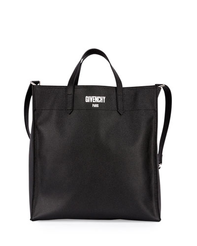 Men's Logo Print Leather Tote Bag, Black