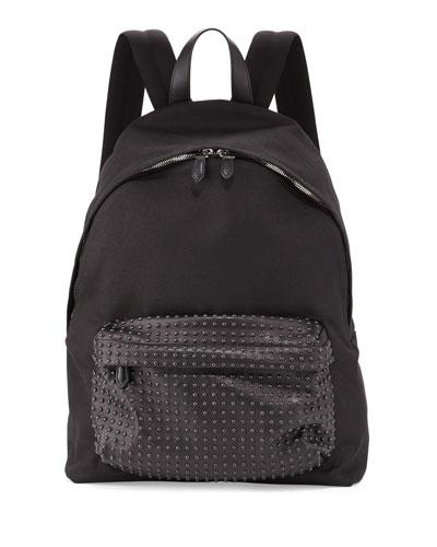 Studded-Front Canvas Backpack, Black