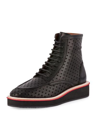 Perforated-Cross Platform Boot, Black
