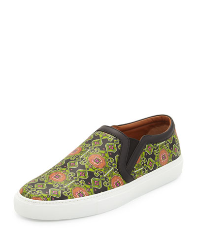 Geometric-Print Leather Skate Shoe, Green Multi
