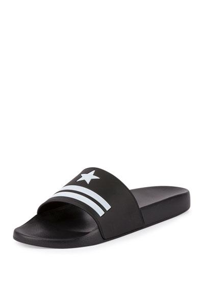 Star & Stripe Rubber Slide Sandals, Black