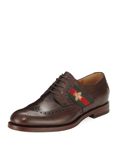 Strand Leather Lace-Up Shoe with Bee Web, Brown