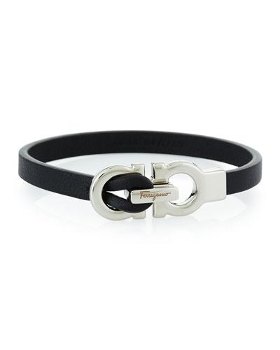 Men's Gancini Leather Wrap Bracelet, Black