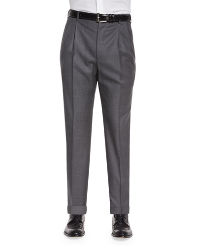 Bennett Pleated Super 150's Trousers, Grey
