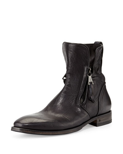Fleetwood Zip-Up Leather Boot, Black