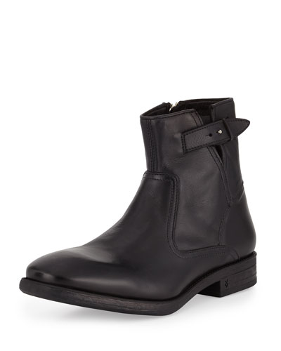 Bleecker Leather Zip-Up Boot, Black