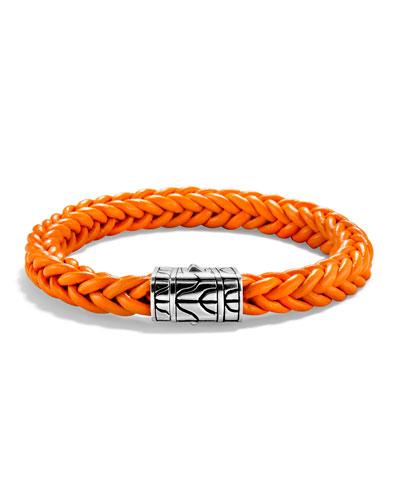 40th Anniversary Men's Classic Chain Silver/Leather Bracelet, Orange