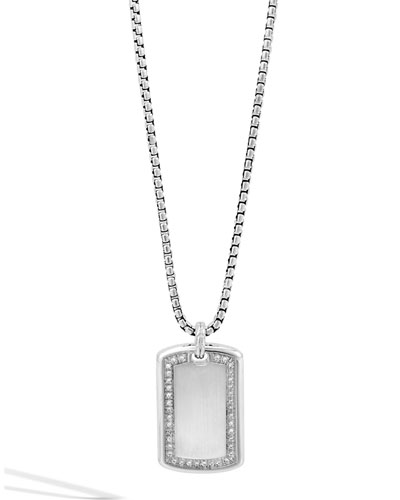 Classic Silver Chain & Diamond Dog Tag Necklace