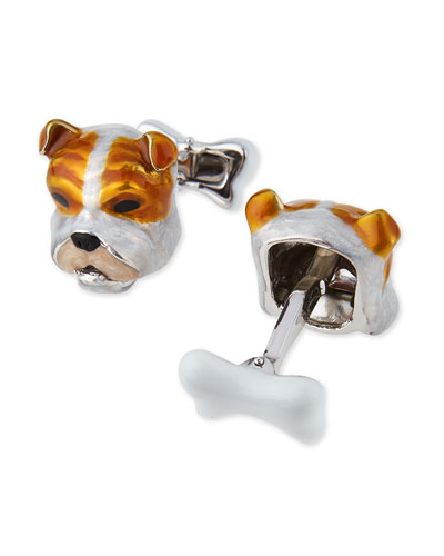 Sterling Silver and Enamel Dog Face Cuff Links