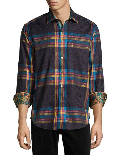 British Isles Printed Long-Sleeve Sport Shirt, Black