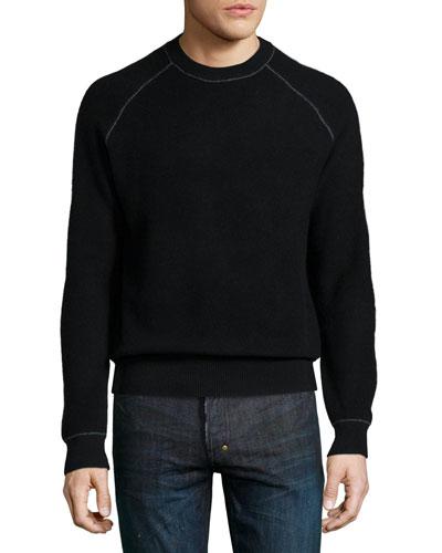 Neiman Marcus Cashmere by Billy Reid Raglan-Sleeve Sweater, Black