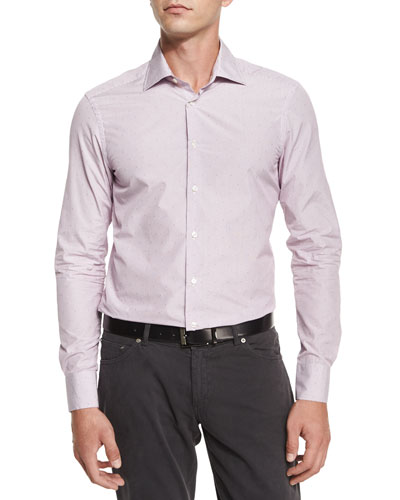Fine-Stripe & Dot Print Sport Shirt, Wine