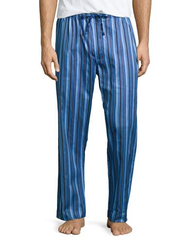 Satin-Striped Pajama Pants, Blue