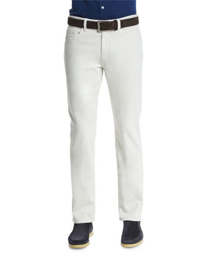 5-Pocket Regular Fit Stretch-Cotton Pants, White