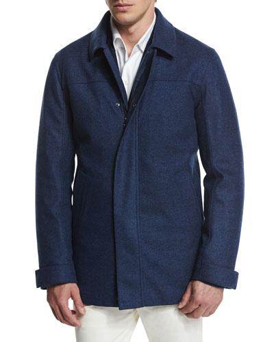 Cashmere-Silk Zip Jacket, Blue