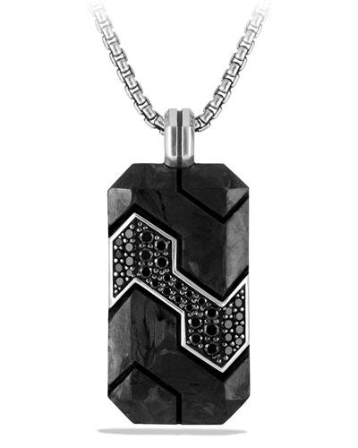 Carbon & Pave Diamond Tag