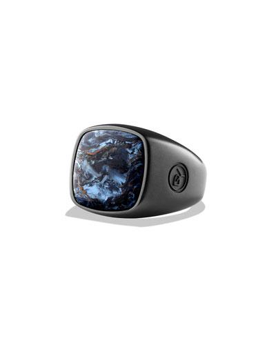Pietersite Cushion Signet Ring