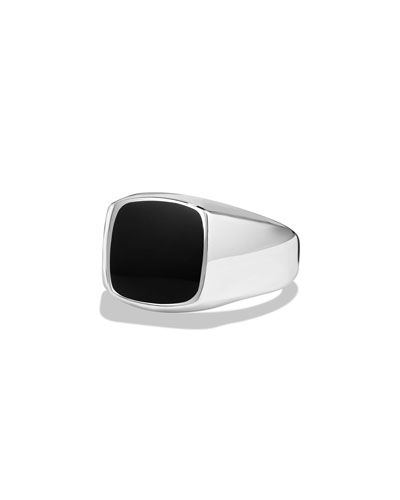 Black Onyx Cushion Signet Ring