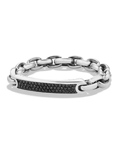 Men's Streamline ID Bracelet with Black Diamonds