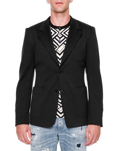 Two-Button Jersey Blazer, Black