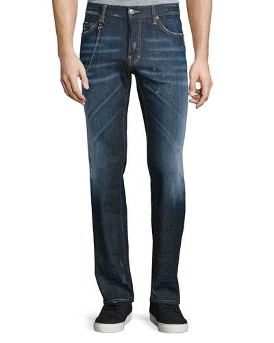 Dean Paint-Splatter Denim Jeans with Chain, Blue