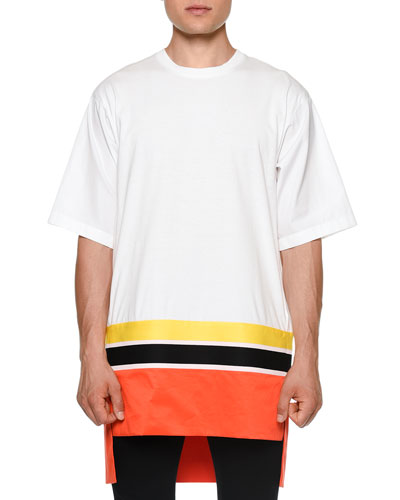 Colorblock Short-Sleeve Oversized T-Shirt, White/Orange