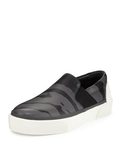 Tiger Printed Leather Skate Sneaker, Gray/Black
