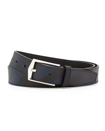 Henry Check Buckle Belt, Navy/Black