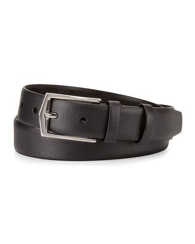 London Leather Dress Belt, Black