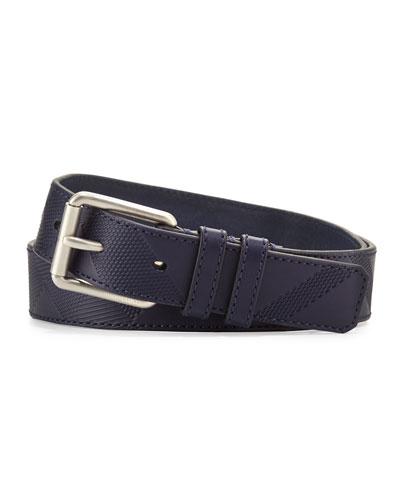 Textured Leather Utility Belt, Navy