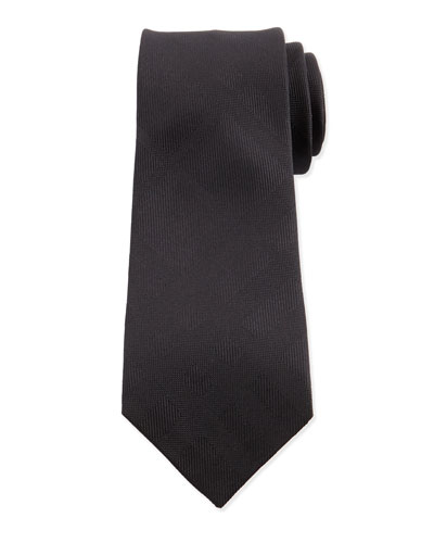 Tonal-Check Silk Tie, Black
