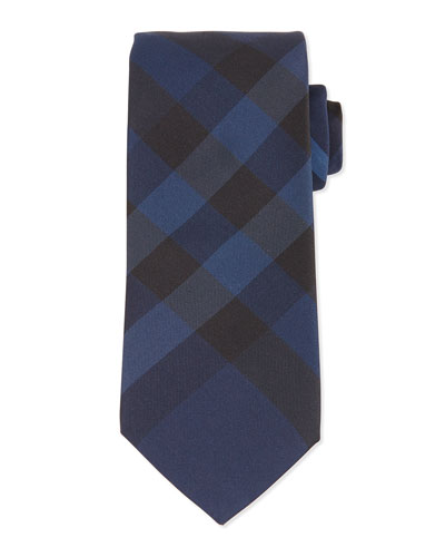 Manston Exploded-Check Silk Tie, Navy