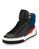 Leather High-Top Sneaker with Sheep Fur, Black/Red/Blue
