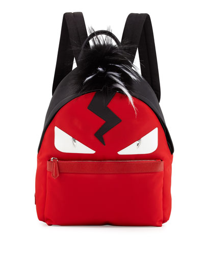 Monster Nylon Backpack with Fur Crest, Red