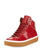 Belgravi Men's Leather High-Top Sneaker, Red