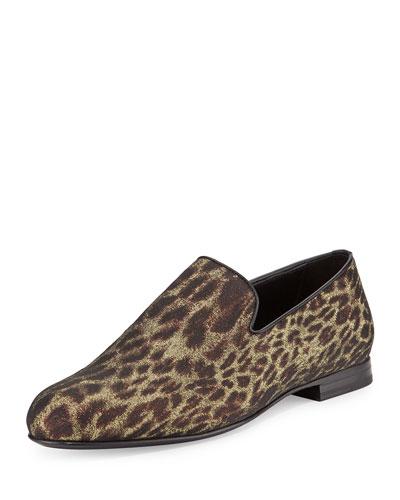 Sloane Men's Glitter Leopard-Print Slipper, Black/Gold