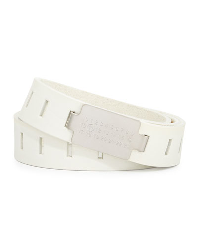 Code-Buckle Leather Belt, White