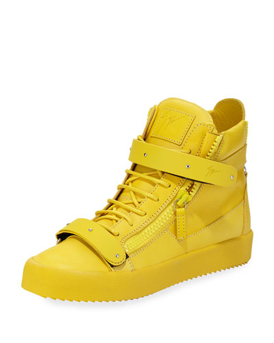 Men's Double-Strap Leather High-Top Sneaker, Yellow