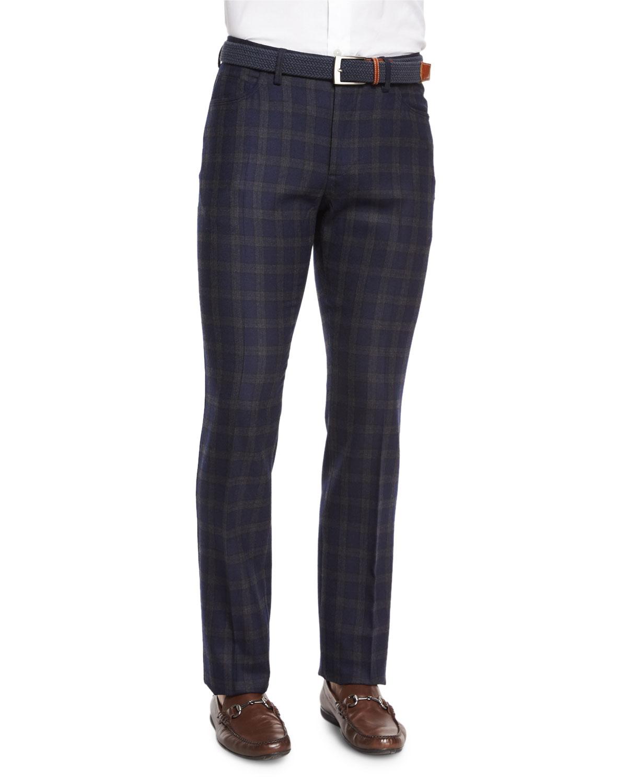 Windowpane Wool Hybrid Pants, Navy
