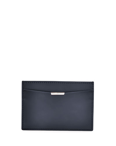 Flat Leather Card Case, Gray