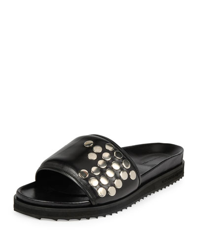 Studded Leather Slide-On Sandal, Black