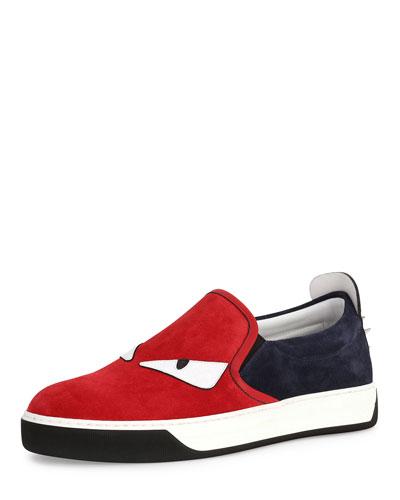 Monster Suede Slip-On Sneaker, Red