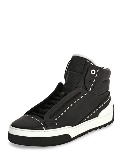 Metal-Stud Leather High-Top Sneaker, Black